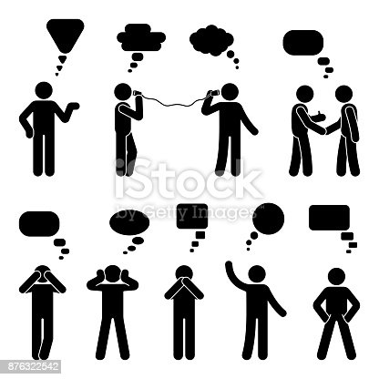 istock Stick figure dialog speech bubbles set. Talking, thinking, communicating body language man conversation icon pictogram 876322542