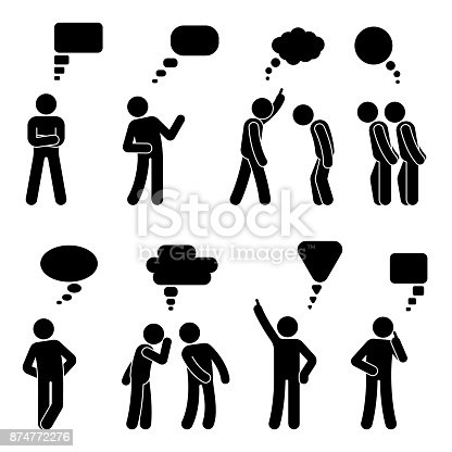 istock Stick figure dialog speech bubbles set. Talking, thinking, whispering body language man conversation icon pictogram 874772276