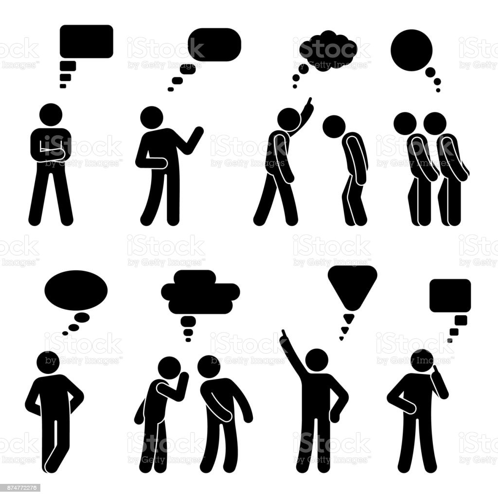 Stick figure dialog speech bubbles set. Talking, thinking, whispering body language man conversation icon pictogram vector art illustration