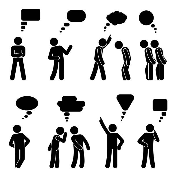stick figure dialog speech bubbles set. talking, thinking, whispering body language man conversation icon pictogram - wine stock illustrations