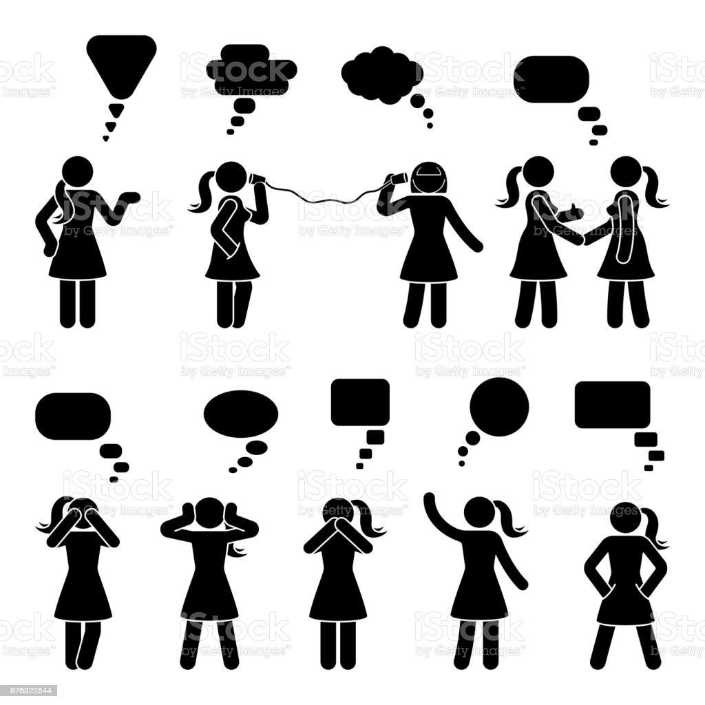 Strichmännchen Sprechblasen Dialog Satz Reden Denken Flüstern