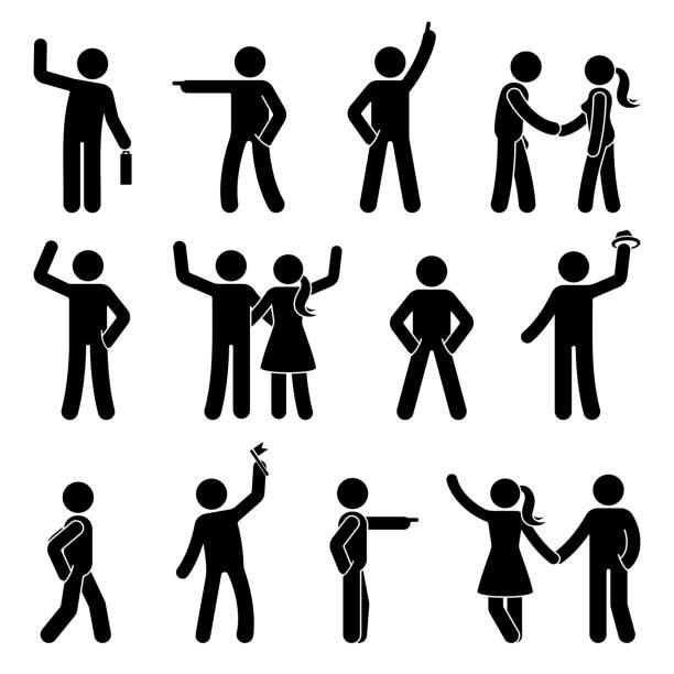 illustrations, cliparts, dessins animés et icônes de stick figure différents bras placer ensemble. pointant le doigt, mains dans les poches, agitant personne pictogramme de signe icône posture symbole blanc - époux