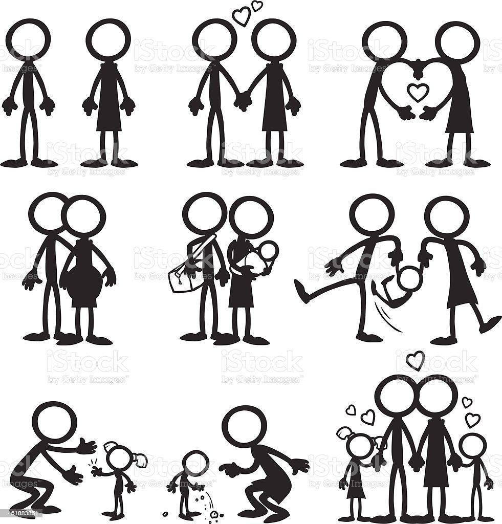 Représentation humaine en traits les familles - Illustration vectorielle