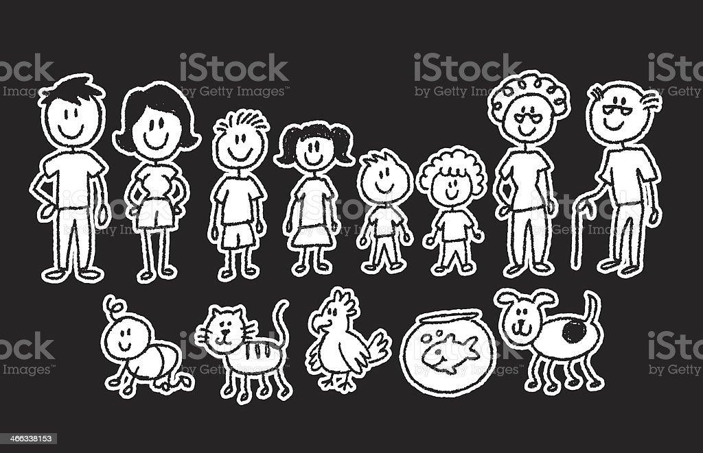 stick figure family on black