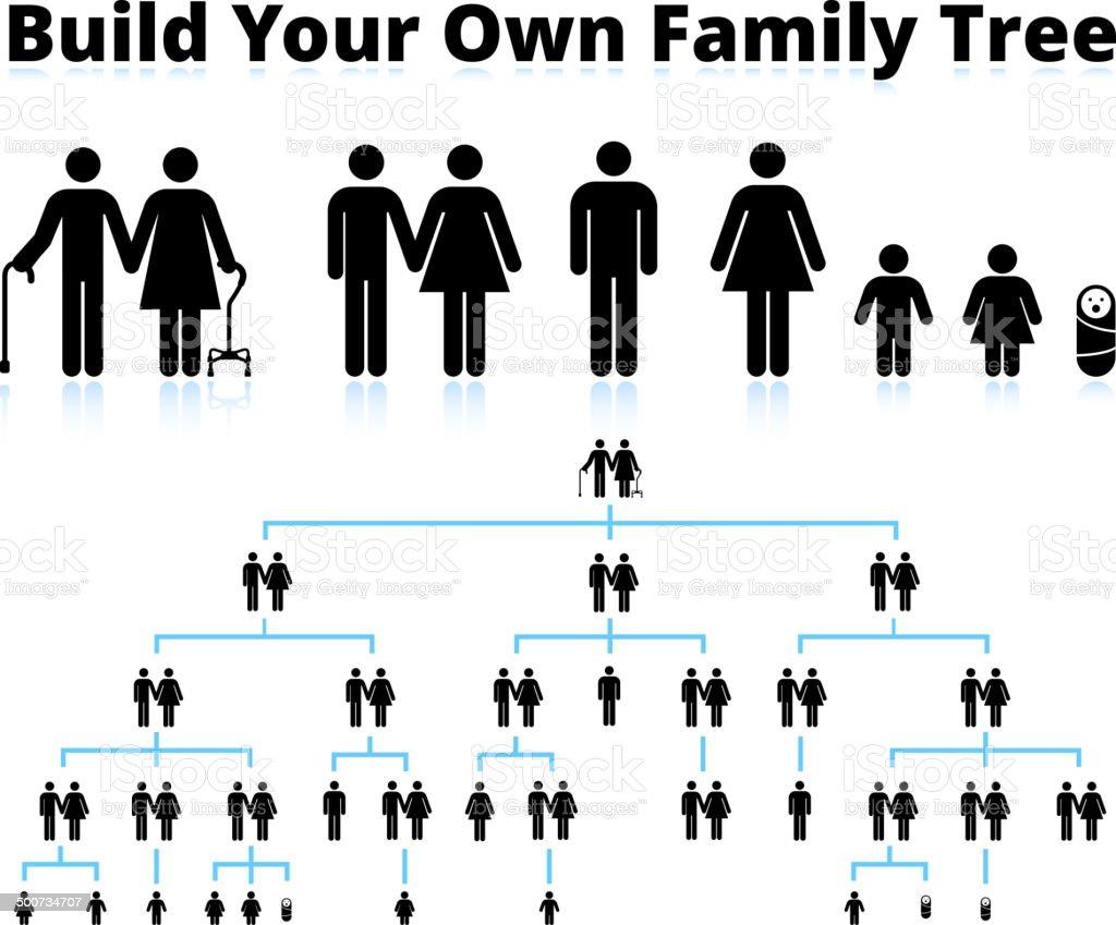 Stick Figura de árbol familiar - ilustración de arte vectorial