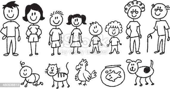 Stick Figure Family Stock Vector Art & More Images of ...