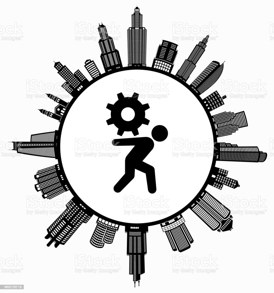 Stick Figure Gear on Modern Cityscape Skyline Background royalty-free stick figure gear on modern cityscape skyline background stock vector art & more images of architecture