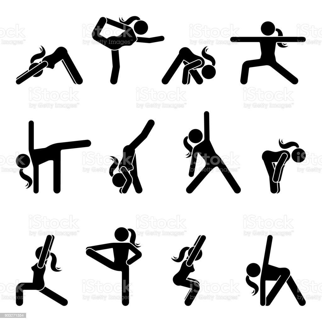 Stick Figure Fille Yoga De Base Position Définie Illustration ...