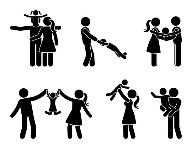 stick figure happy family activity icon set. father and mother with kids playing outdoor pictogram - brother stock illustrations, clip art, cartoons, & icons