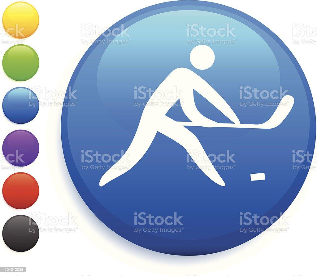 Stick Figure hockey internet button icon royalty-free stock vector art