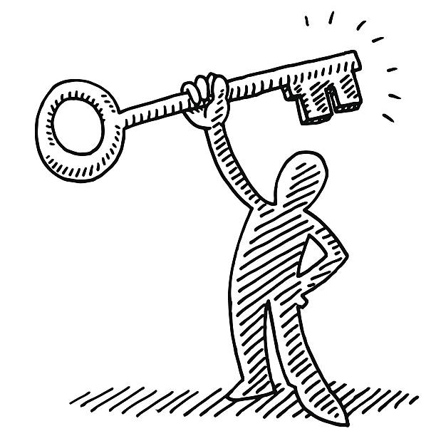 Stick Figure Holding A Key Drawing Hand-drawn vector drawing of a Stick Figure Holding A Key. Black-and-White sketch on a transparent background (.eps-file). Included files are EPS (v10) and Hi-Res JPG. business stock illustrations