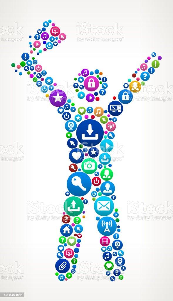 Stick Figure Holding a Trophy Internet Communication Technology Icon Pattern vector art illustration