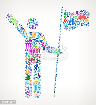 istock Stick Figure Holding Flag Active Lifestyle Vector Icon Pattern 690642574