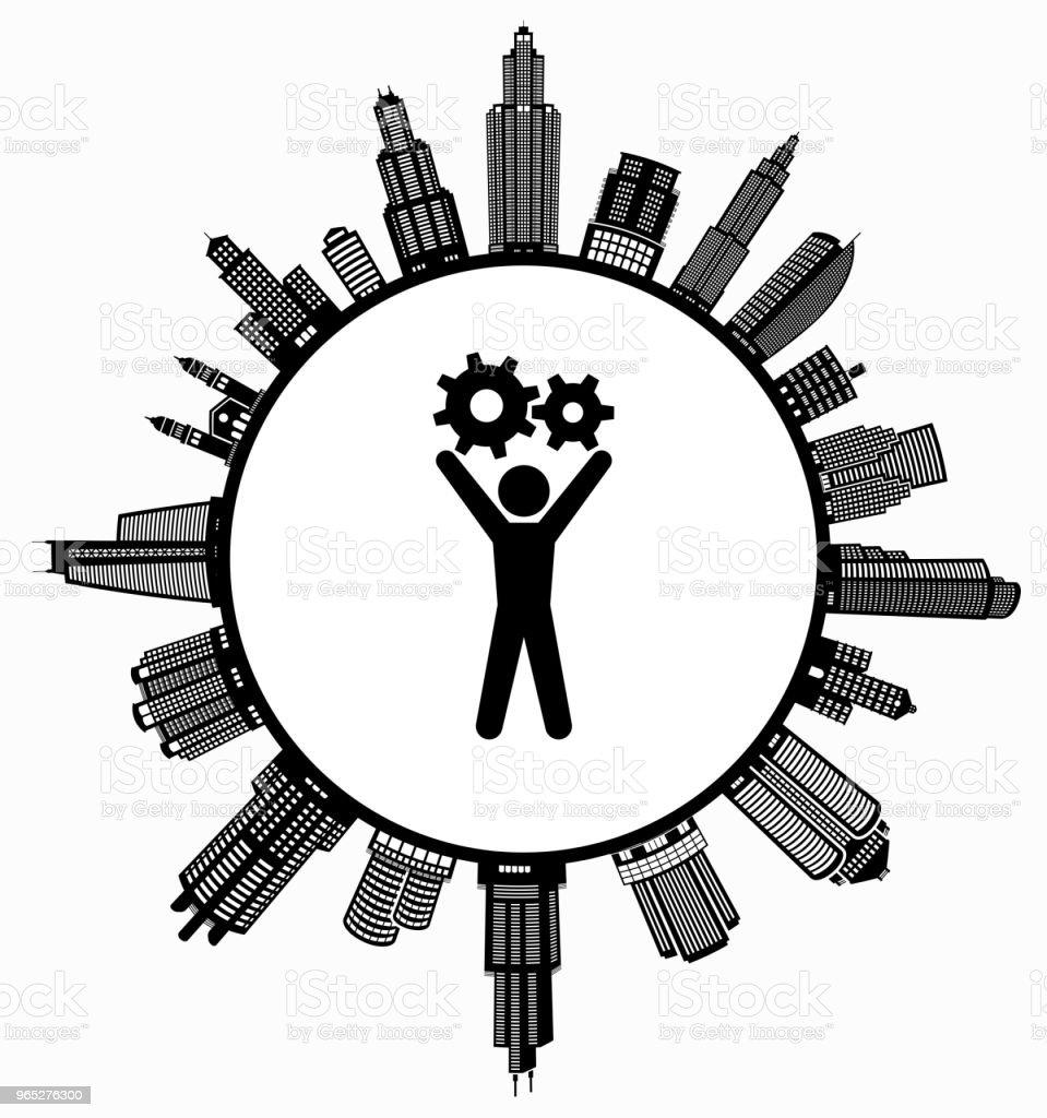 Stick Figure Holding Gear on Modern Cityscape Skyline Background stick figure holding gear on modern cityscape skyline background - stockowe grafiki wektorowe i więcej obrazów architektura royalty-free
