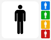 Stick Figure Icon Flat Graphic Design