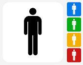 Stick Figure Icon Flat Graphic Design