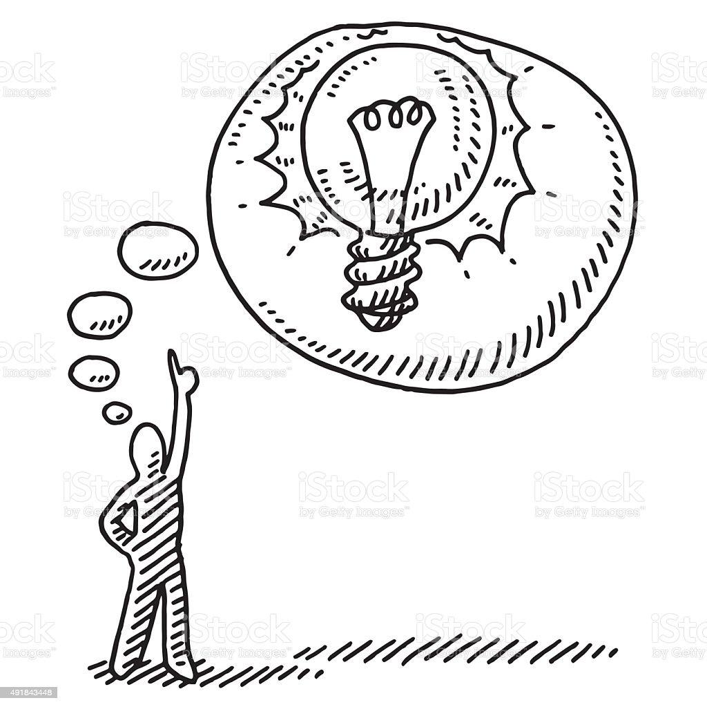 Stick Figure Idea Thought Bubble Lightbulb Drawing vector art illustration