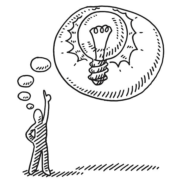 Stick Figure Idea Thought Bubble Lightbulb Drawing Hand-drawn vector drawing of a Stick Figure having an Idea. in a Thought Bubble is a shining Lightbulb. Black-and-White sketch on a transparent background (.eps-file). Included files are EPS (v10) and Hi-Res JPG. business stock illustrations