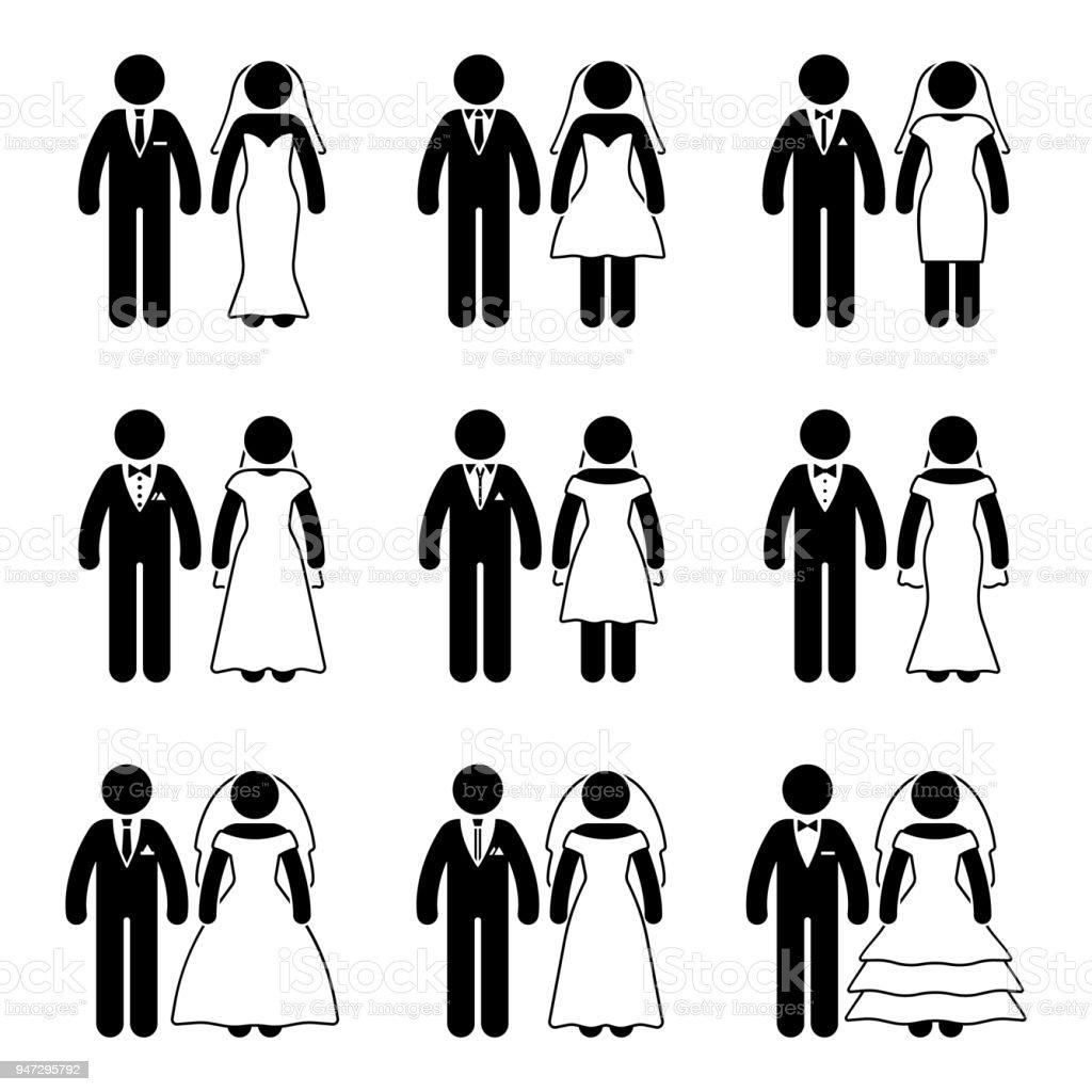 Strichmannchen Hochzeit Braut Und Brautigam Satz Vektorillustration