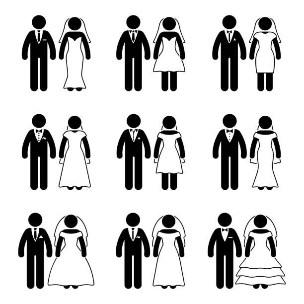 strichmännchen hochzeit braut und bräutigam satz. vektor-illustration der glückliche brautpaar auf weiß - hochzeitspaare stock-grafiken, -clipart, -cartoons und -symbole