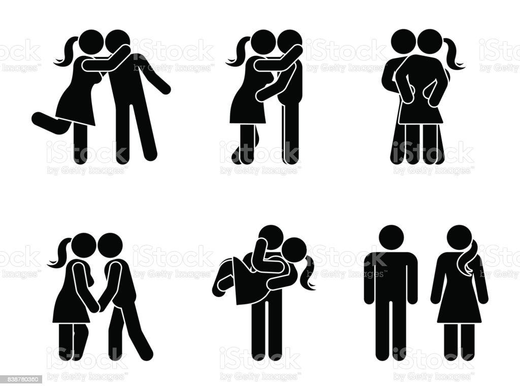 カップルのキス スティック フィギュア セットです男と女の愛はベクトル
