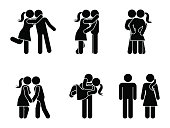 Stick figure kissing couple set. Man and woman in love vector illustration on white. Boyfriend and girlfriend hugging, cuddling and holding hand pictogram