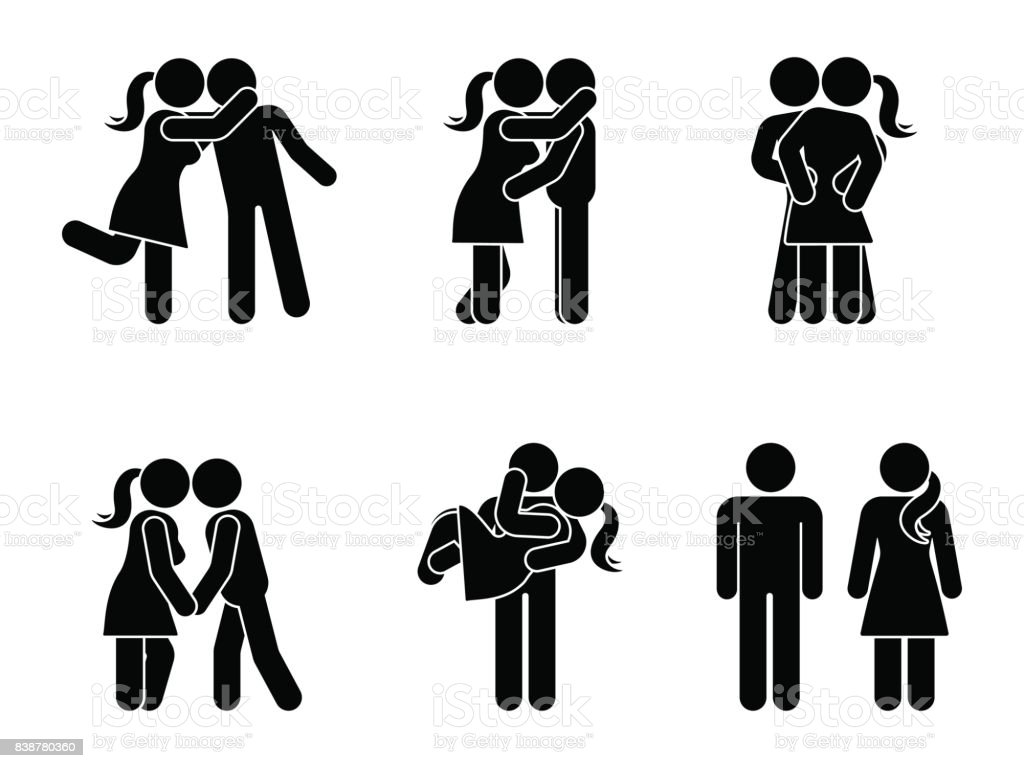 Stick figure kissing couple set. Man and woman in love vector illustration on white. Boyfriend and girlfriend hugging, cuddling and holding hand pictogram vector art illustration