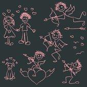 Hand drawn Valentine's Day stick figures on chalkboard.