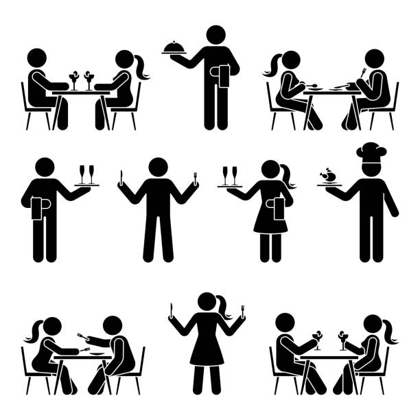 illustrazioni stock, clip art, cartoni animati e icone di tendenza di stick figure man and woman, chief cook, waitress, waiter vector icon pictogram set. eating, sitting at restaurant, dating, hungry, having dinner stickman silhouette on white - galateo a tavola