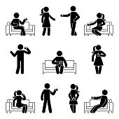 Stick figure man and woman relaxing on sofa set. Vector illustration of drinking coffee pictogram on white