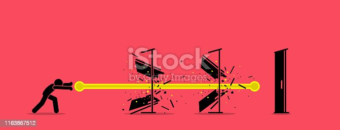 Vector artwork concept depict overcome challenges, dealing with difficulty, solving obstacles, and going through barrier of entry.