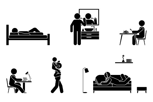 Stick figure man everyday life time activities vector icon set. Sleep, brush teeth, eat, sit at desk, work, study, play with kid, lay on sofa, listen to music, use laptop pictogram on white