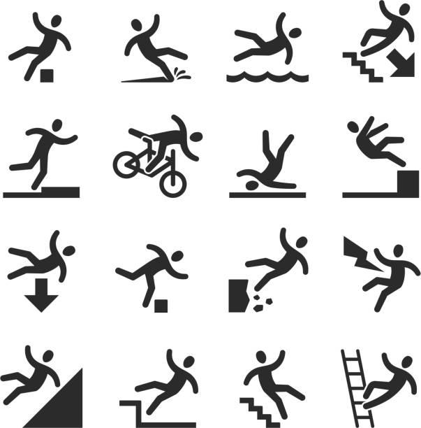stockillustraties, clipart, cartoons en iconen met stok figuur man vallen pas op, gevaar waarschuwing symbolen. persoon schade bij werk vector borden geïsoleerd - ongeluk transportatie evenement