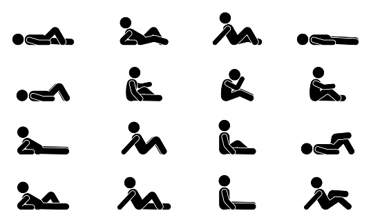 Stick figure man lie down various positions vector illustration icon set. Male person sleeping, laying, sitting on floor, ground side view silhouette pictogram on white