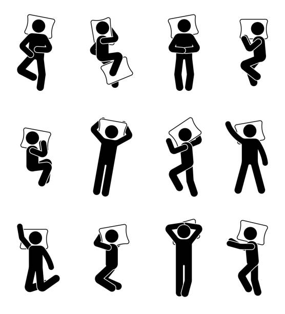 Stick figure man sleeping icon set. Deferent positions single male in bed pictogram Stick figure man sleeping icon set. Deferent positions single male in bed pictogram man sleeping stock illustrations
