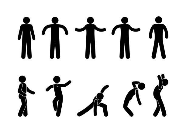Stick figure man standing. Black cut out people human silhouette. Stick figure man standing. Black cut out people human silhouette, different poses vector icon pictogram set. stick figure stock illustrations