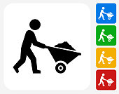 Stick Figure Mining Icon. This 100% royalty free vector illustration features the main icon pictured in black inside a white square. The alternative color options in blue, green, yellow and red are on the right of the icon and are arranged in a vertical column.