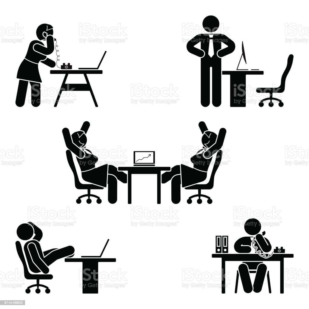Stick figure office poses set. Business finance workplace support. Working, sitting, talking, meeting, training, discussing vector pictogram vector art illustration