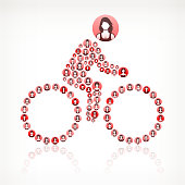 Stick Figure on Bicycle Women Faces Girl Power Pattern. This vector collage has pink and red round buttons arrange in seamless patter. Individual iconography on the buttons shows women portraits. Women and businesswomen convey a feeling of girl power unity teamwork and partnership. This royalty free vector background graphic is ideal for your feminism and girl power concepts.