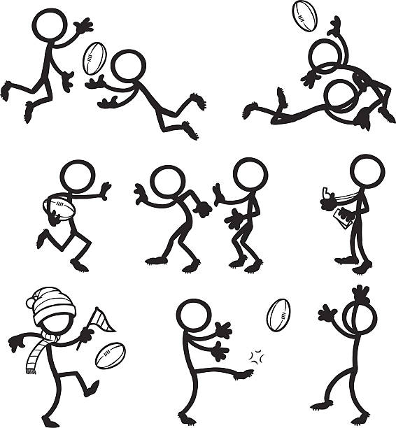 Stick Figure People Aussie Rules Football vector art illustration