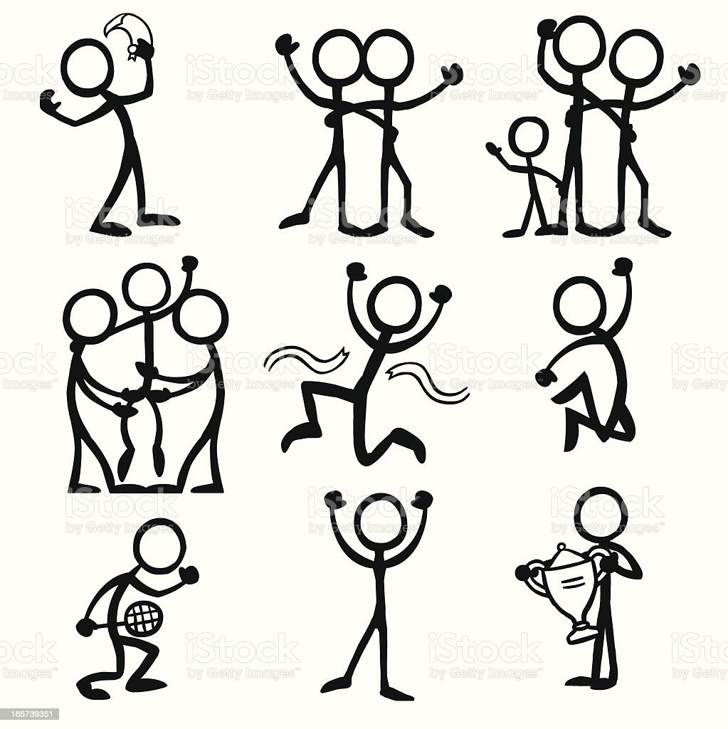 Stick Figure People Celebration Stock Illustration