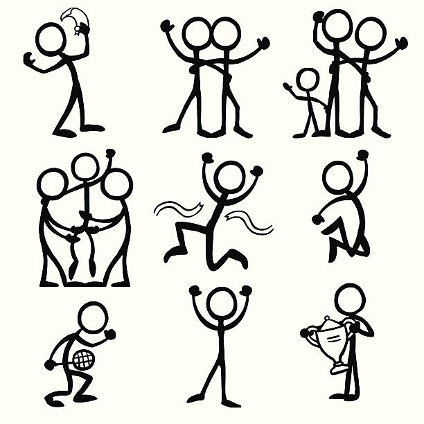 Stick Figure People Celebration