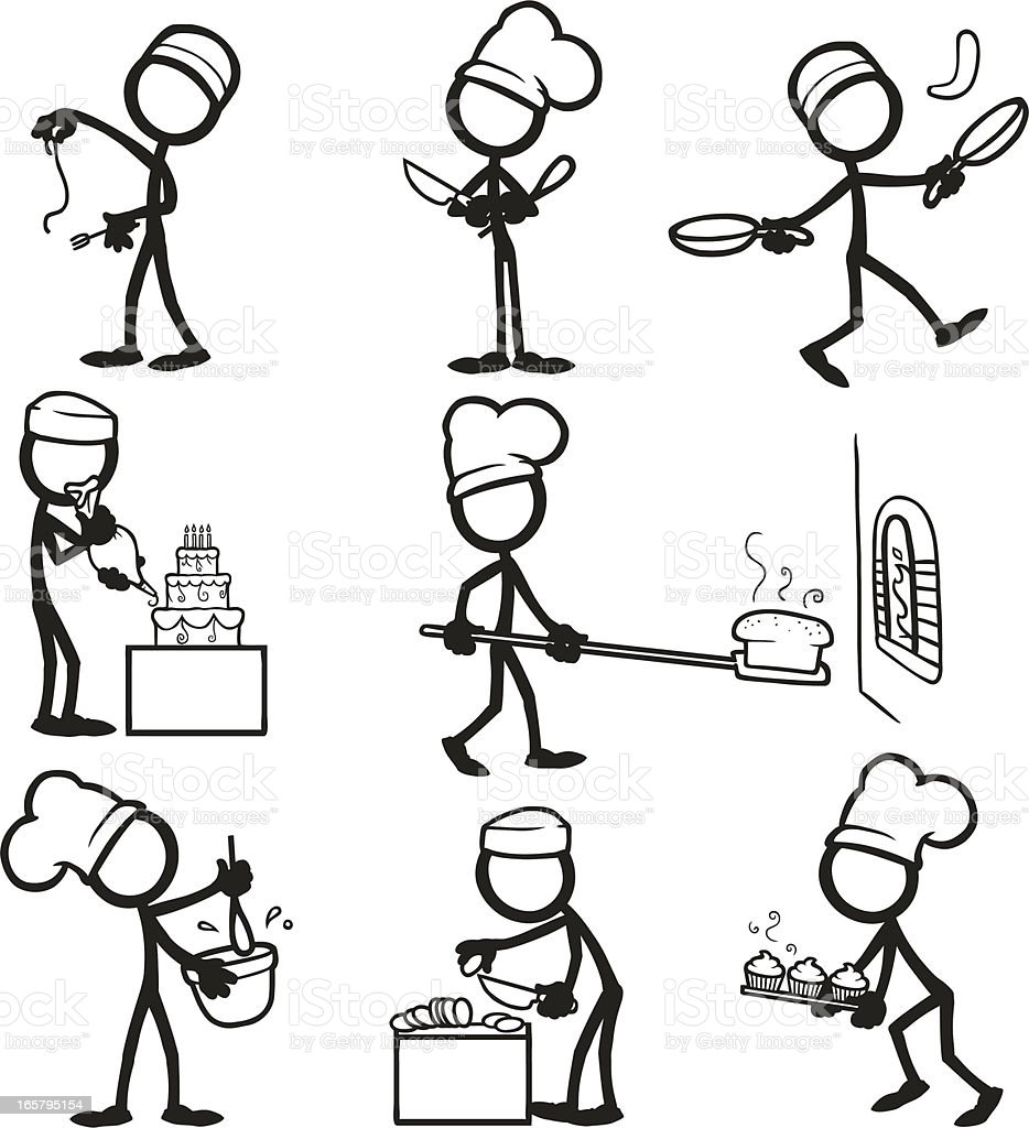 cooking stick figure vector figures illustration drawing stickfigure drawings sketch activities istock istockphoto tobybridson draw stickman chef royalty clipart easy