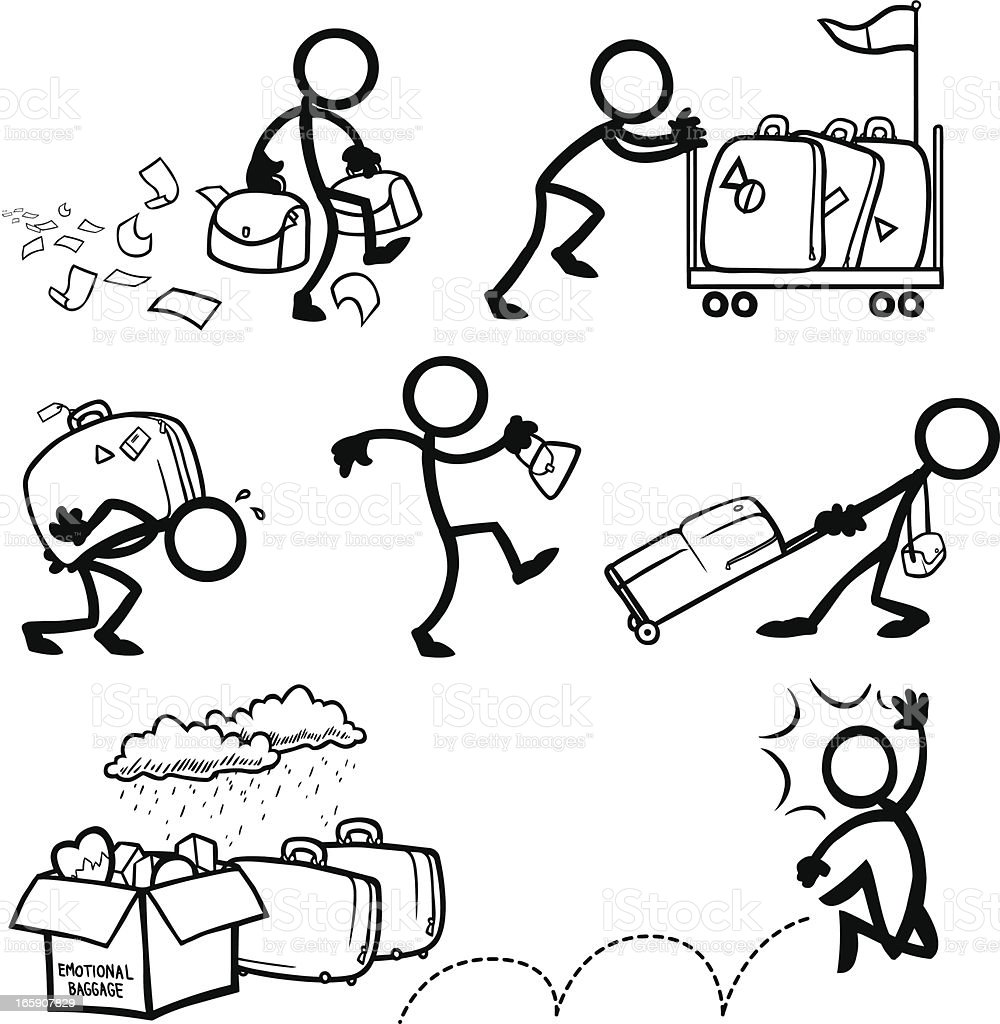 Stick Figure People Excess Personal Emotional Baggage royalty-free stock vector art