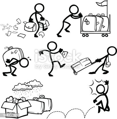Stick Figure People Excess Personal Emotional Baggage