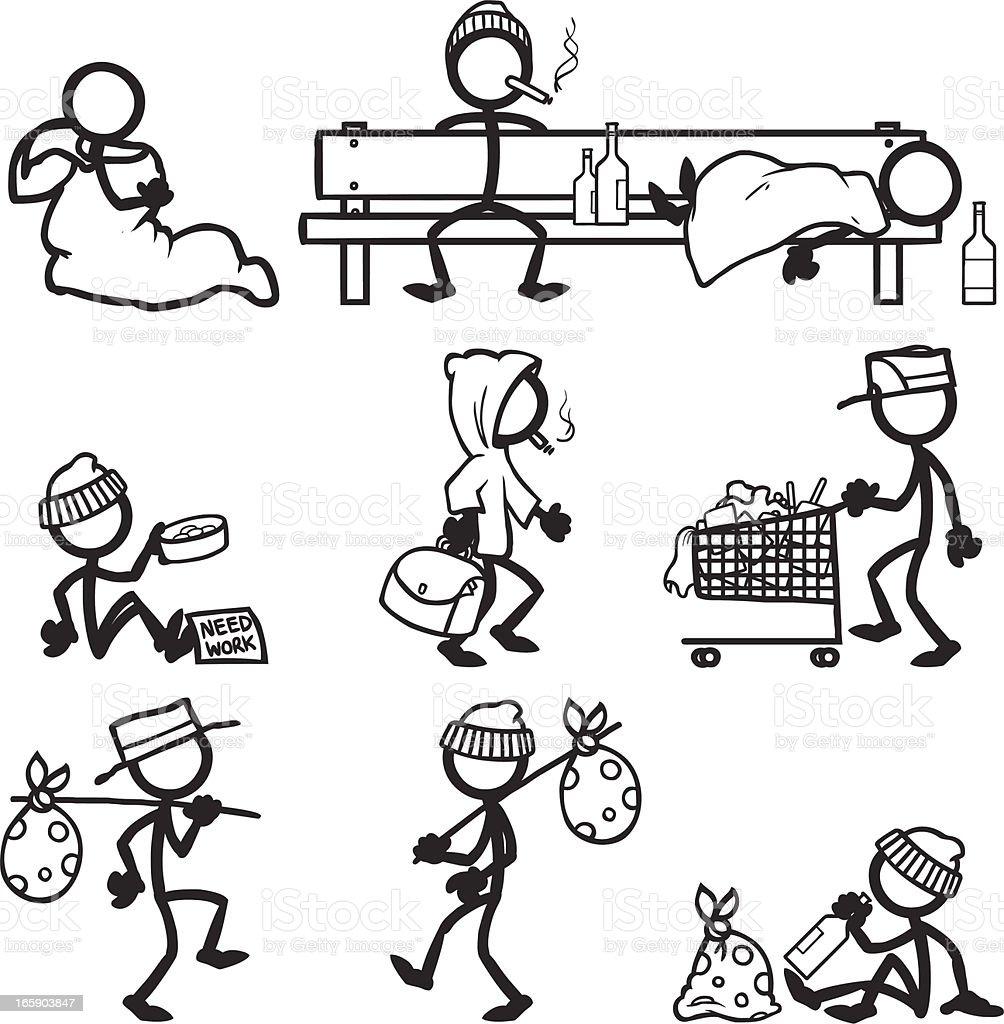 Stick Figure People Hobo vector art illustration