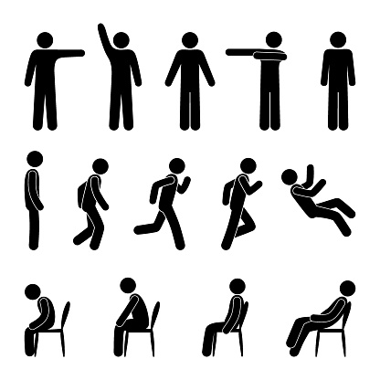 stick figure people in various poses, isolated human silhouettes, a man stands, sits, runs