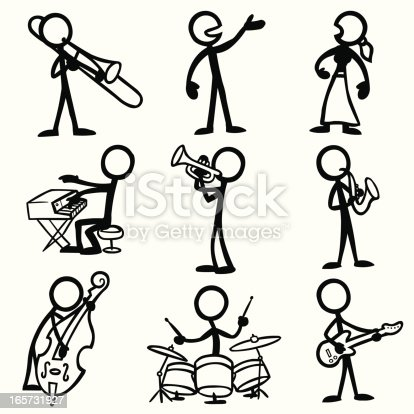 Stick Figure People Jazz Musicians Stock Vector Art & More