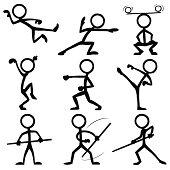 Stickfigures doing Kung-Fu
