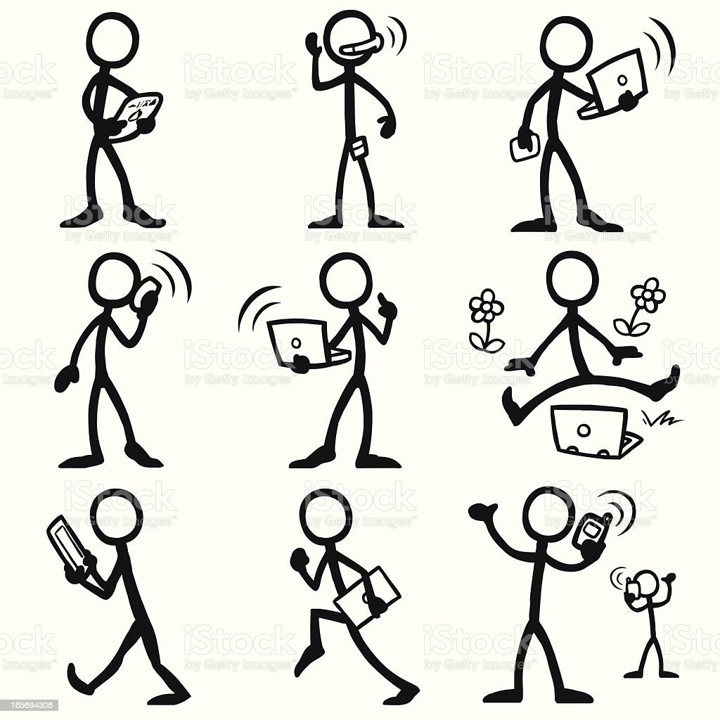 stick figure people mobile computing stock illustration - download image now